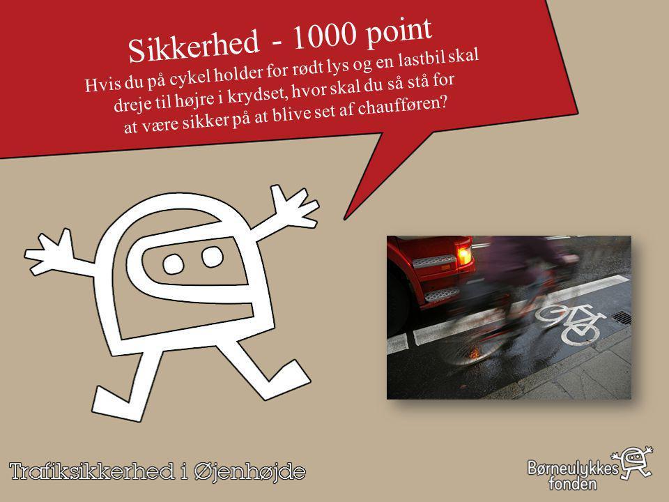 Sikkerhed - 1000 point Hvis du på cykel holder for rødt lys og en lastbil skal