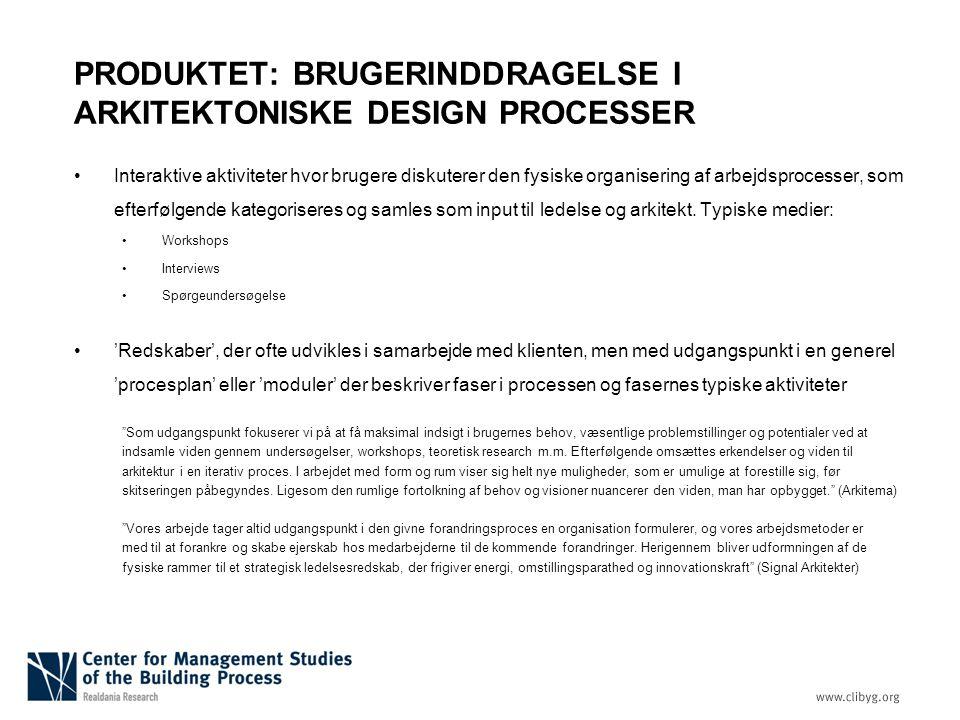 PRODUKTET: BRUGERINDDRAGELSE I ARKITEKTONISKE DESIGN PROCESSER
