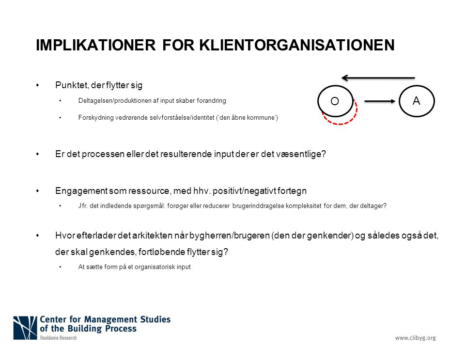 IMPLIKATIONER FOR KLIENTORGANISATIONEN