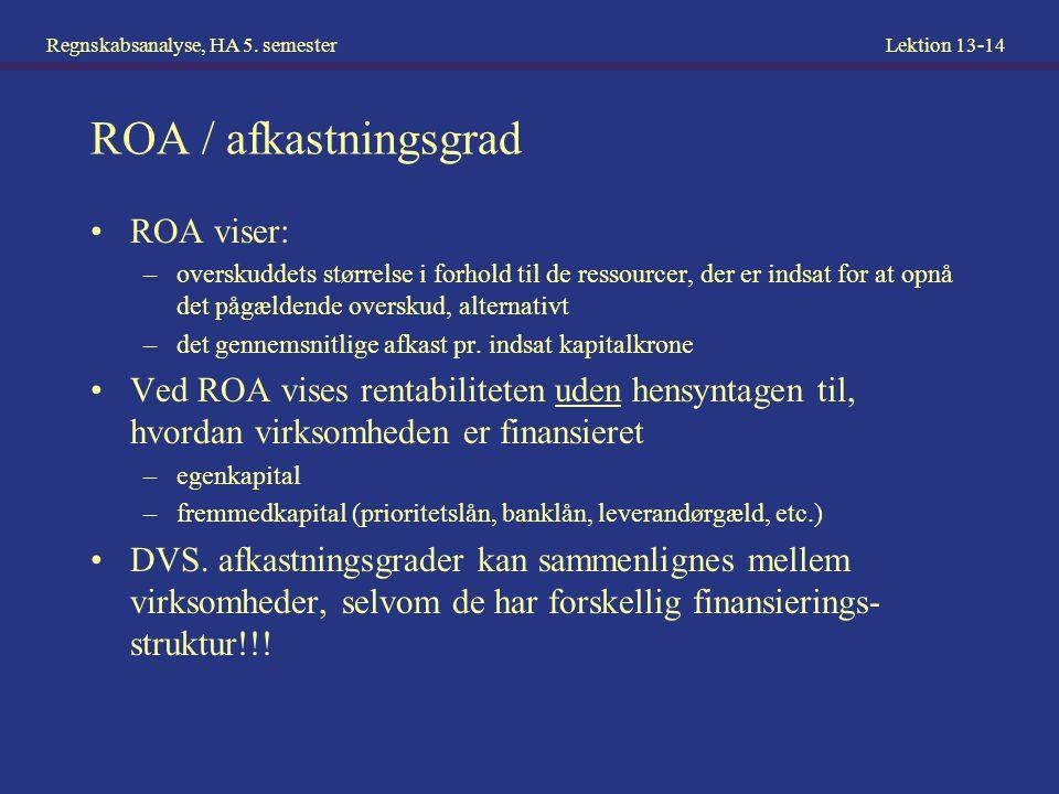 ROA / afkastningsgrad ROA viser: