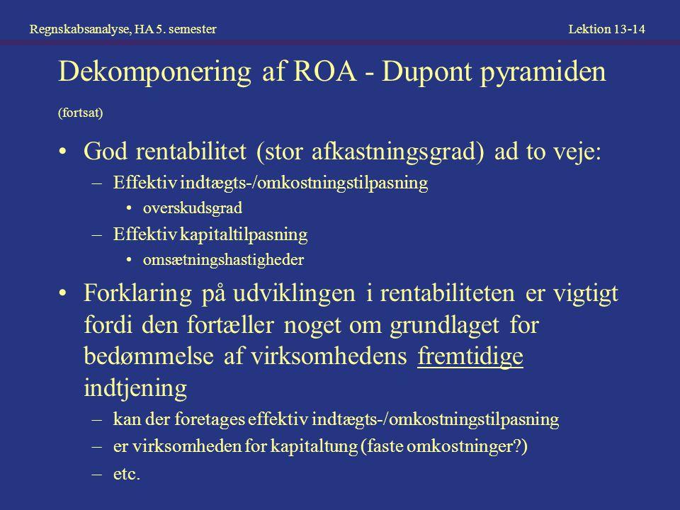 Dekomponering af ROA - Dupont pyramiden (fortsat)