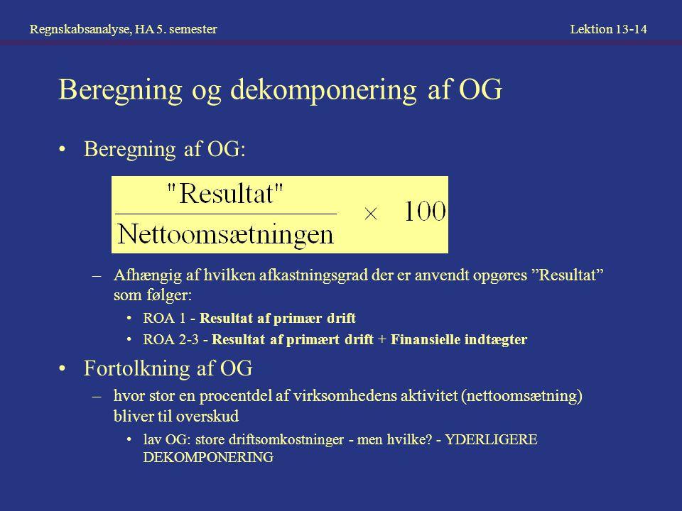 Beregning og dekomponering af OG