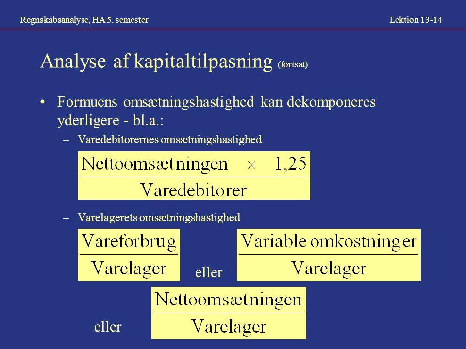 Analyse af kapitaltilpasning (fortsat)
