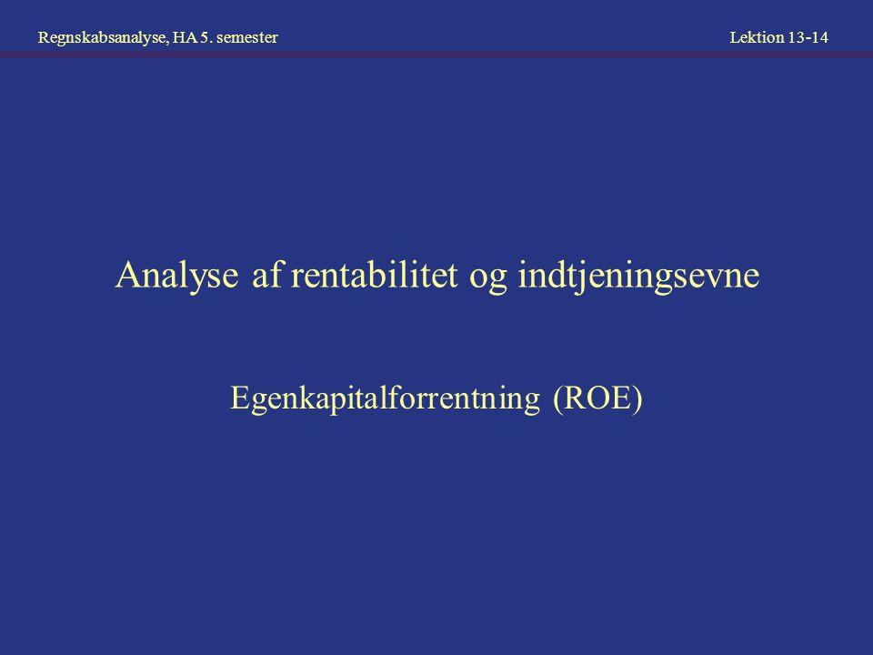 Analyse af rentabilitet og indtjeningsevne