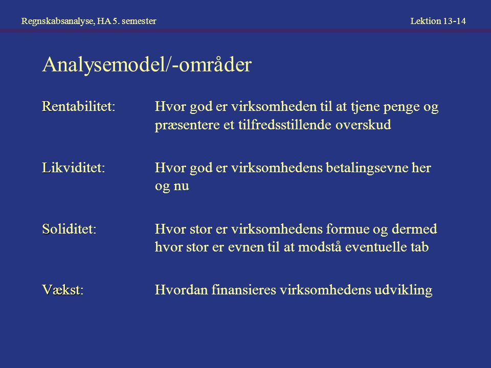 Analysemodel/-områder