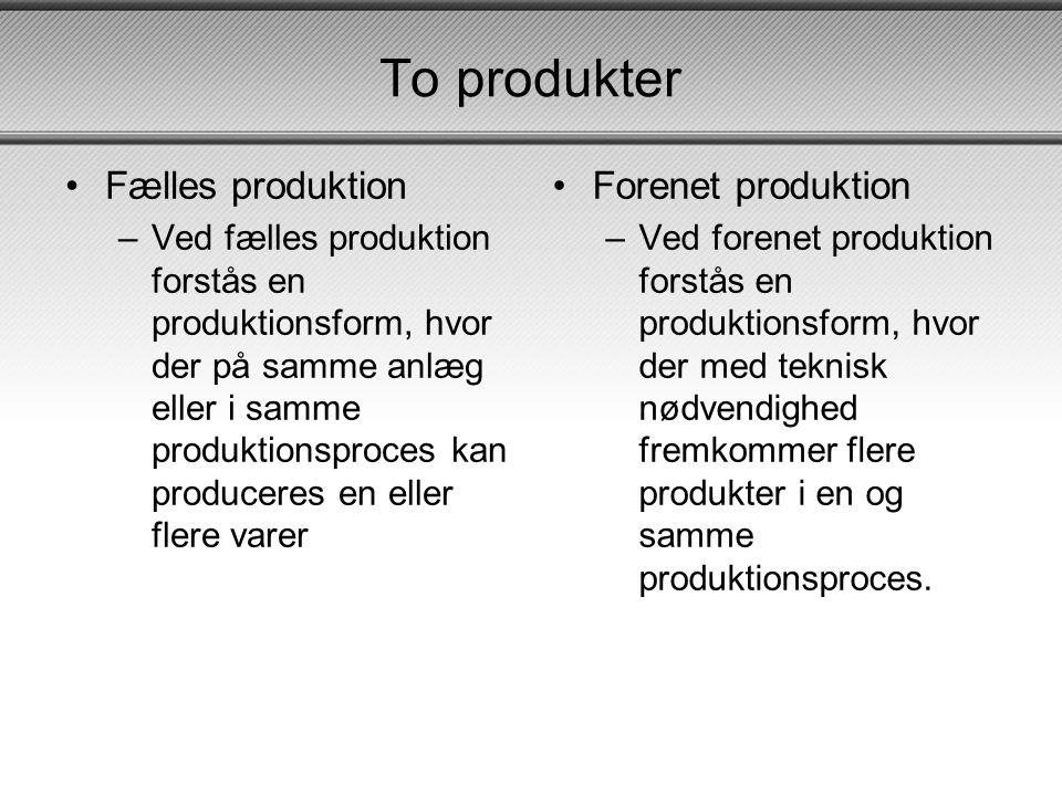 To produkter Fælles produktion Forenet produktion