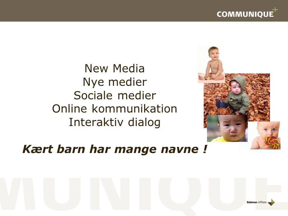New Media Nye medier Sociale medier Online kommunikation Interaktiv dialog Kært barn har mange navne !