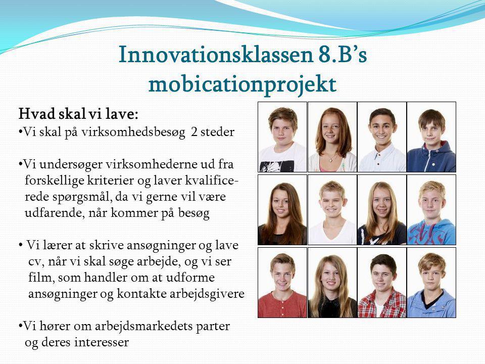 Innovationsklassen 8.B's mobicationprojekt