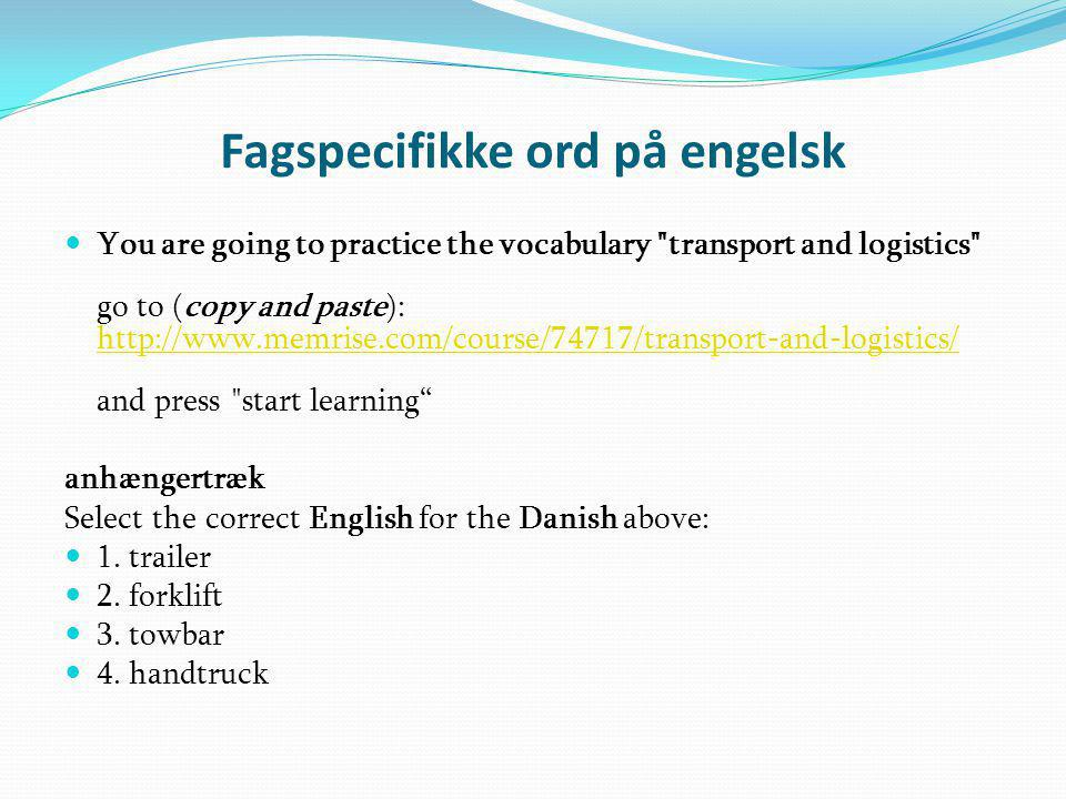 Fagspecifikke ord på engelsk