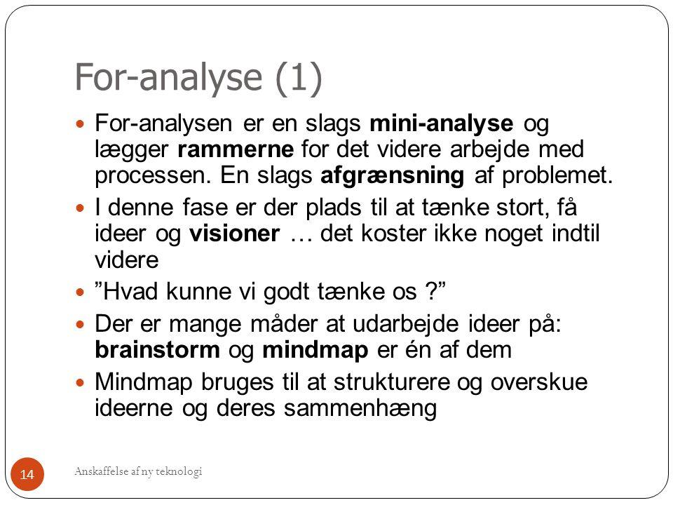For-analyse (1) For-analysen er en slags mini-analyse og lægger rammerne for det videre arbejde med processen. En slags afgrænsning af problemet.