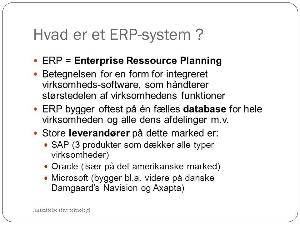 Hvad er et ERP-system ERP = Enterprise Ressource Planning
