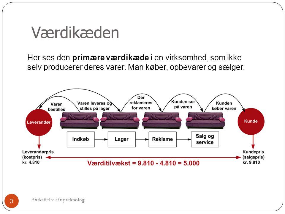 Værdikæden Her ses den primære værdikæde i en virksomhed, som ikke selv producerer deres varer. Man køber, opbevarer og sælger.