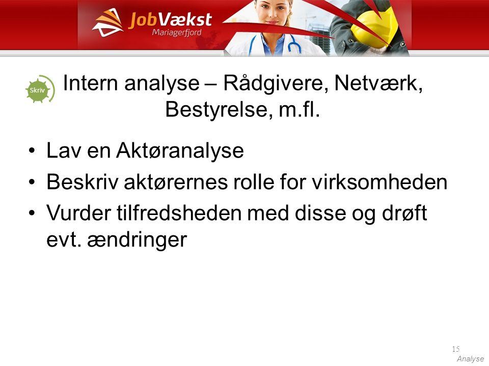 Intern analyse – Rådgivere, Netværk, Bestyrelse, m.fl.