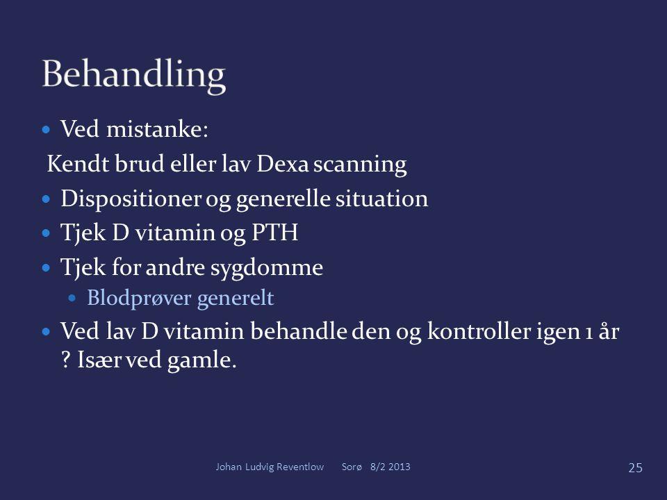 Behandling Ved mistanke: Kendt brud eller lav Dexa scanning