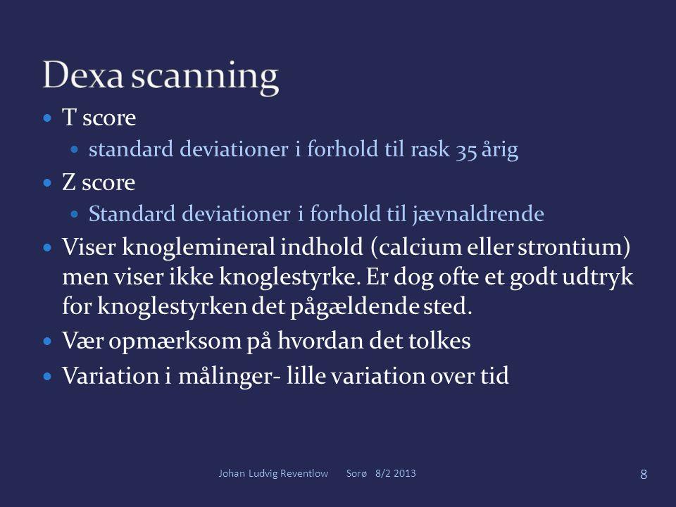 Dexa scanning T score Z score