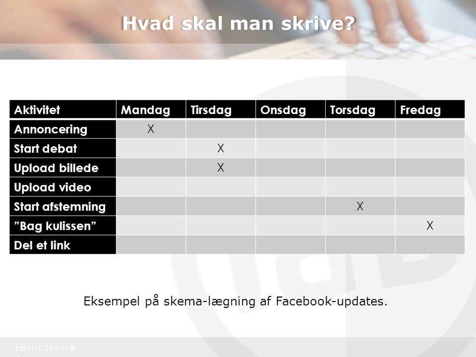Eksempel på skema-lægning af Facebook-updates.