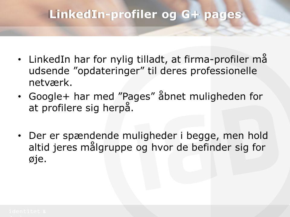 LinkedIn-profiler og G+ pages
