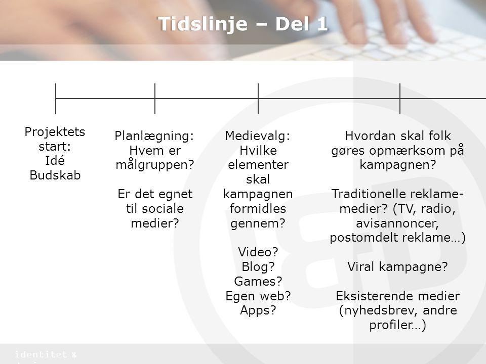 Tidslinje – Del 1 Projektets start: Idé Budskab Planlægning: