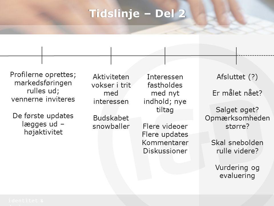Tidslinje – Del 2 Profilerne oprettes; markedsføringen rulles ud;