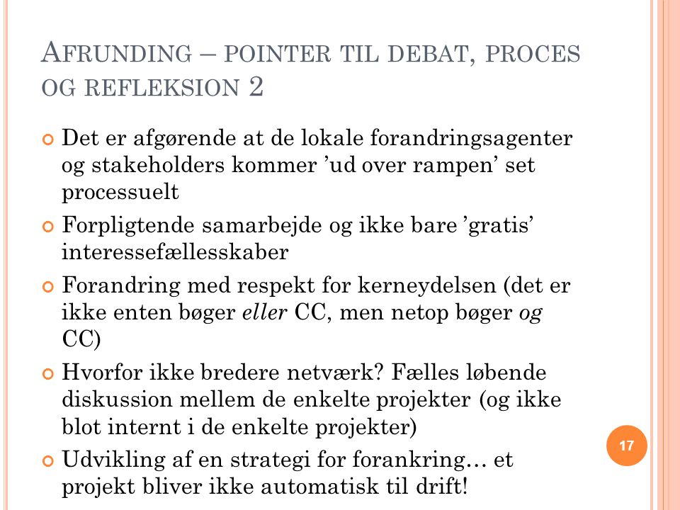 Afrunding – pointer til debat, proces og refleksion 2