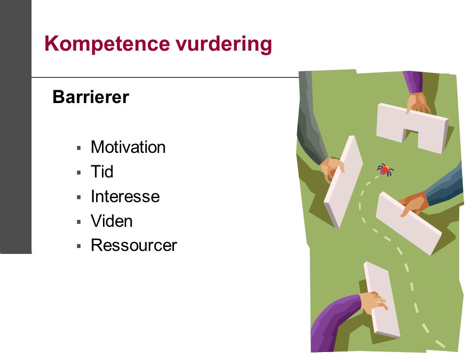 Kompetence vurdering Barrierer Motivation Tid Interesse Viden