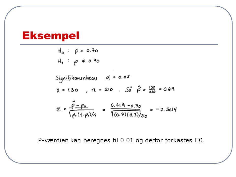 Eksempel P-værdien kan beregnes til 0.01 og derfor forkastes H0.