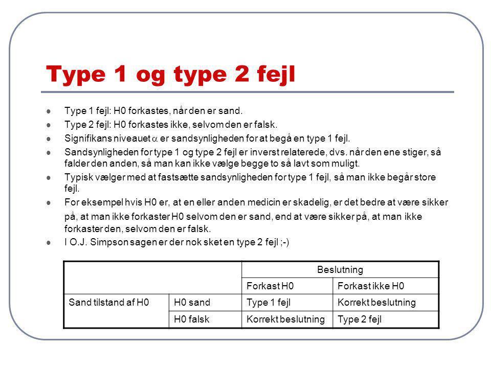 Type 1 og type 2 fejl Type 1 fejl: H0 forkastes, når den er sand.