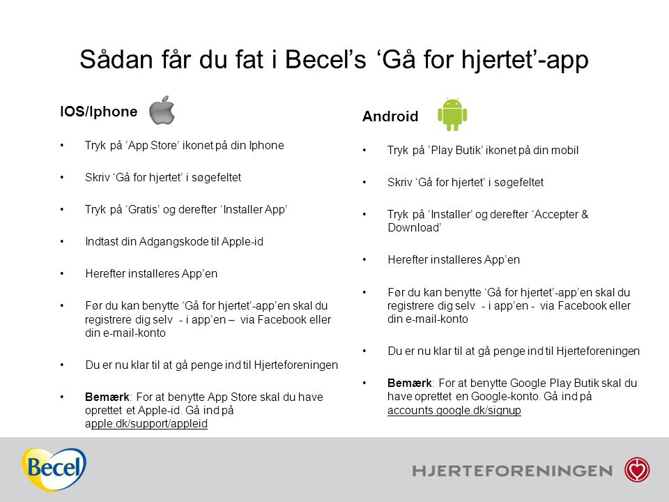 Sådan får du fat i Becel's 'Gå for hjertet'-app