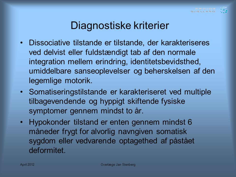 Diagnostiske kriterier