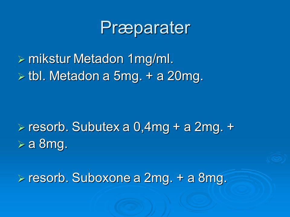 Præparater mikstur Metadon 1mg/ml. tbl. Metadon a 5mg. + a 20mg.