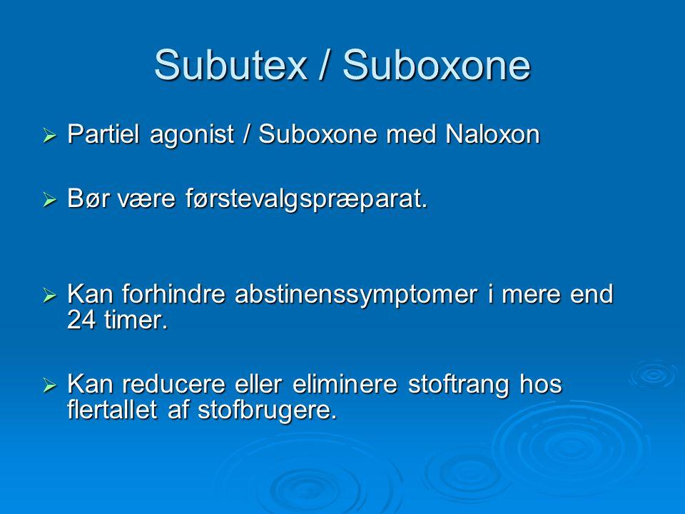 Subutex / Suboxone Partiel agonist / Suboxone med Naloxon