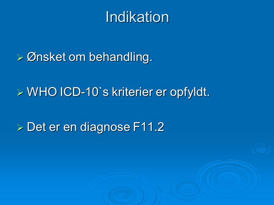 Indikation Ønsket om behandling. WHO ICD-10`s kriterier er opfyldt.