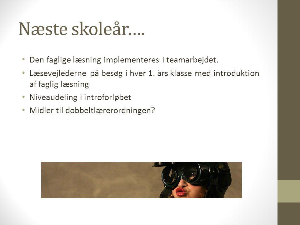 Næste skoleår…. Den faglige læsning implementeres i teamarbejdet.