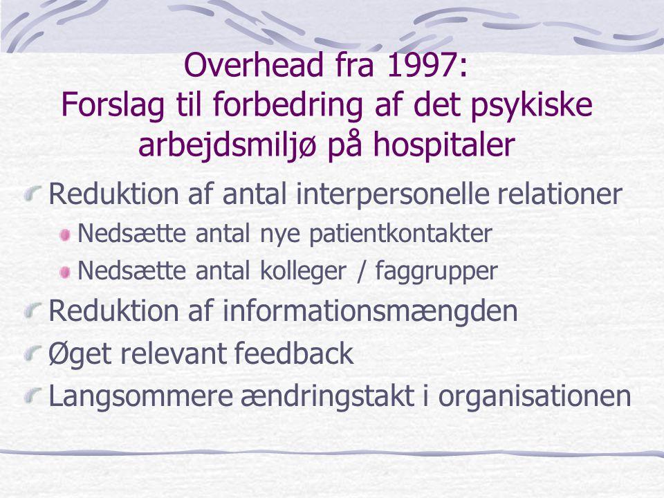 Overhead fra 1997: Forslag til forbedring af det psykiske arbejdsmiljø på hospitaler