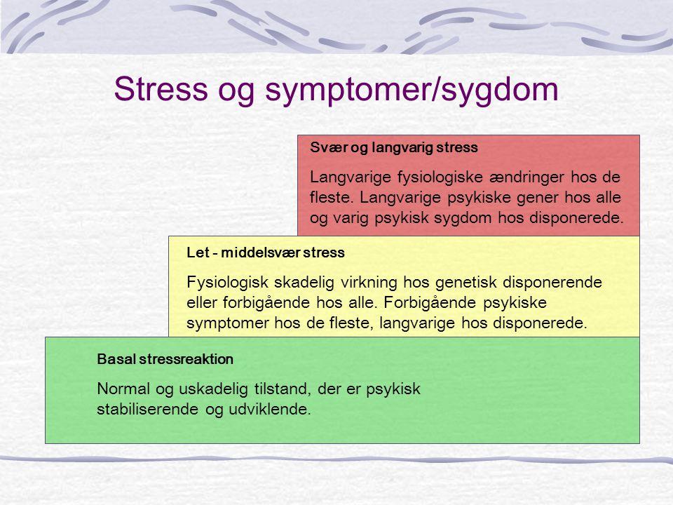 Stress og symptomer/sygdom