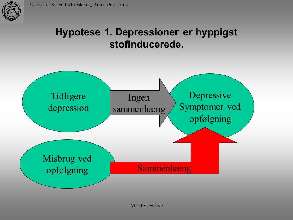 Hypotese 1. Depressioner er hyppigst stofinducerede.