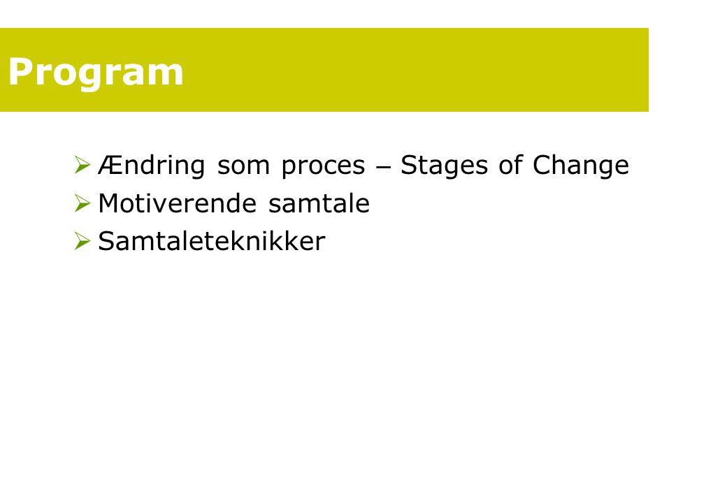 Program Ændring som proces – Stages of Change Motiverende samtale
