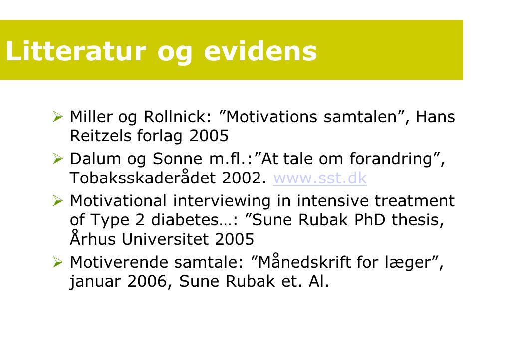 Litteratur og evidens Miller og Rollnick: Motivations samtalen , Hans Reitzels forlag 2005.