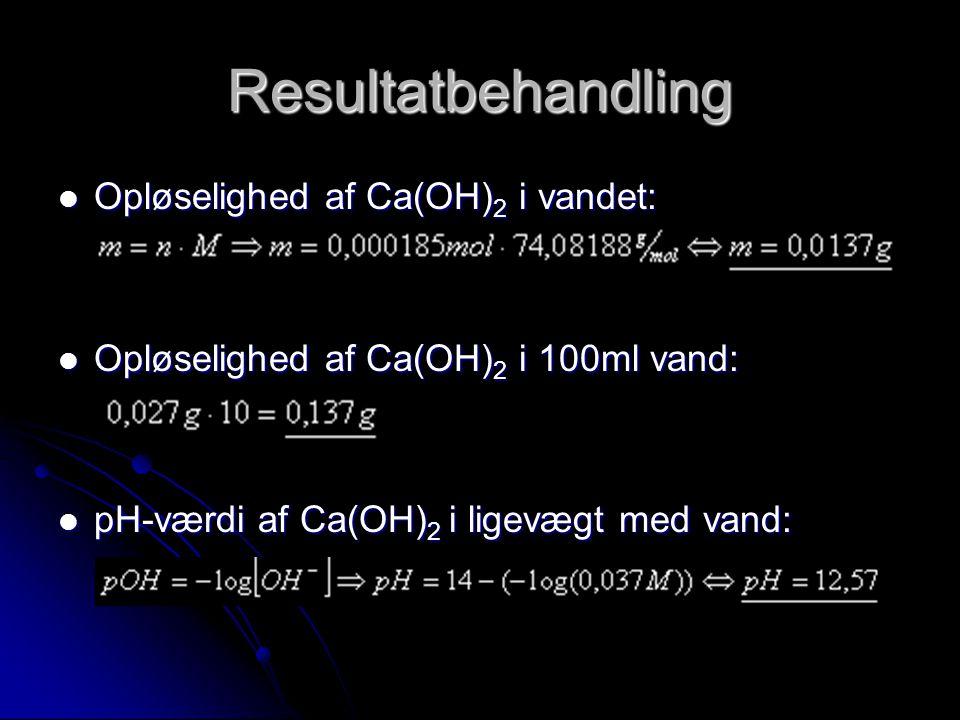 Resultatbehandling Opløselighed af Ca(OH)2 i vandet: