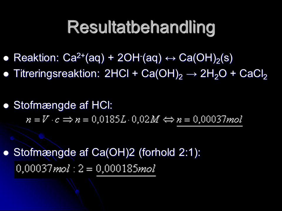 Resultatbehandling Reaktion: Ca2+(aq) + 2OH-(aq) ↔ Ca(OH)2(s)