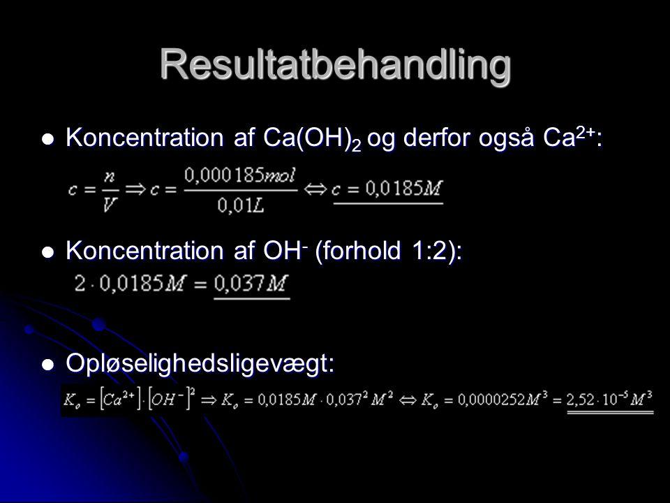 Resultatbehandling Koncentration af Ca(OH)2 og derfor også Ca2+: