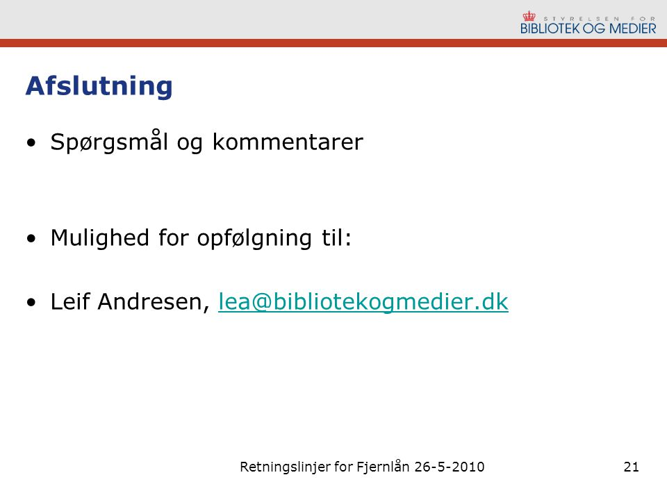 Retningslinjer for Fjernlån 26-5-2010
