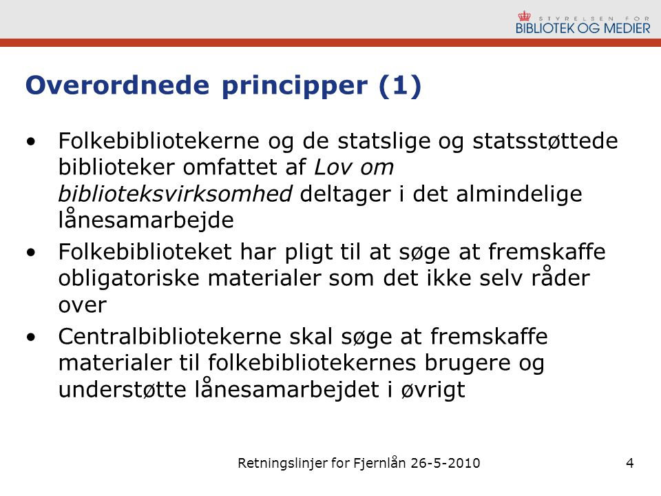 Overordnede principper (1)