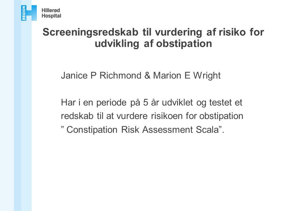 Screeningsredskab til vurdering af risiko for udvikling af obstipation