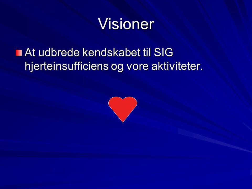 Visioner At udbrede kendskabet til SIG hjerteinsufficiens og vore aktiviteter.