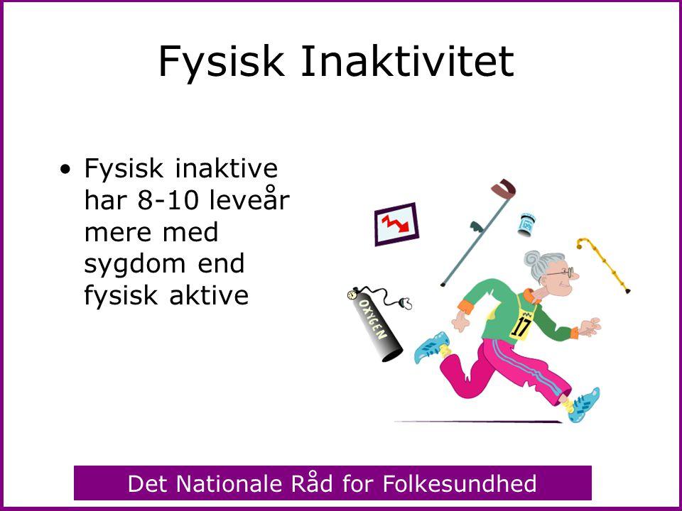 Fysisk Inaktivitet Fysisk inaktive har 8-10 leveår mere med sygdom end fysisk aktive