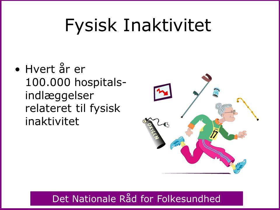 Fysisk Inaktivitet Hvert år er 100.000 hospitals-indlæggelser relateret til fysisk inaktivitet