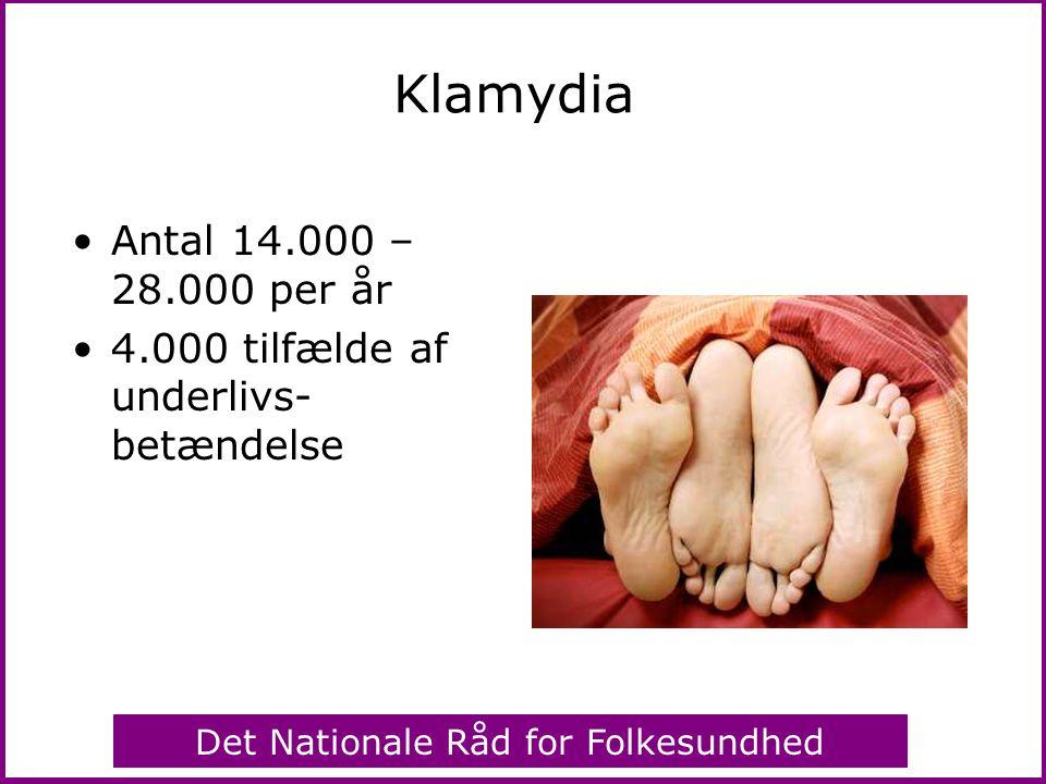 Klamydia Antal 14.000 – 28.000 per år 4.000 tilfælde af underlivs- betændelse