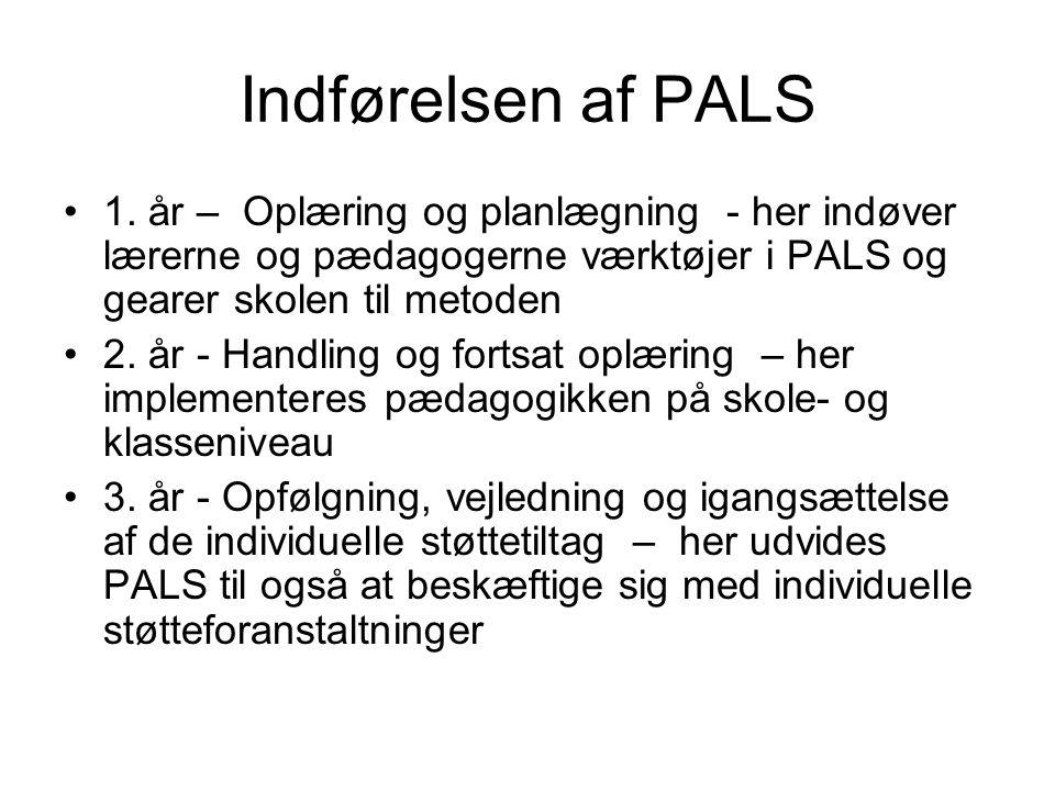 Indførelsen af PALS 1. år – Oplæring og planlægning - her indøver lærerne og pædagogerne værktøjer i PALS og gearer skolen til metoden.