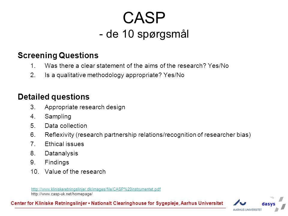 CASP - de 10 spørgsmål Screening Questions Detailed questions